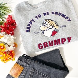 Disney Happy To Be Grumpy Gray Oversized Sweater